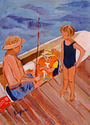 Challenging Painting Prints - Dockside Negotiation on Who is Fishing Print by Elzbieta Zemaitis