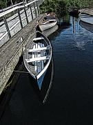 Green Canoe Prints - Dockside Quietude Print by Tim Allen