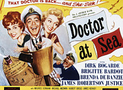 1955 Movies Posters - Doctor At Sea, From Left Brigitte Poster by Everett