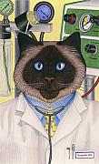 Cat Artwork Framed Prints - Doctor Cat Framed Print by Carol Wilson