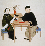 Chinese Woman Watercolor Posters - Doctor Taking Pulse Poster by Granger