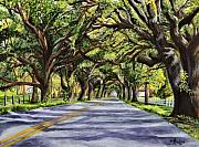 Landscape. Scenic Painting Framed Prints - Docville Oaks Framed Print by Elaine Hodges