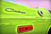 Cave Digital Art Originals - Dodge Challenger in Sublime Green by Gordon Dean II