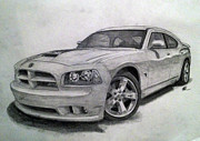 Bee Drawings - Dodge Charger - Super Bee by Todd Baker