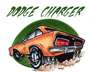 Custom Ford Drawings Metal Prints - Dodge Charger Too Metal Print by Big Mike Roate