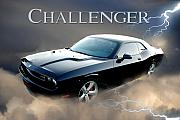 Hemi Framed Prints - Dodge Hemi Challenger Framed Print by John Melton