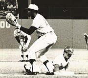 Dodger Stadium Photos - Dodger Maury Wills Diving Back to First by Jamie Baldwin