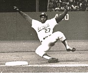 Dodger Stadium Photos - Dodger Willie Crawford Sliding into Third by Jamie Baldwin