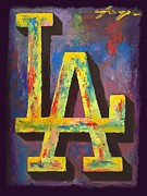 Los Angeles Mixed Media Prints - DODGERS Portrait Print by Dan Haraga