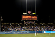 Base Balls Posters - Dodgers Win Poster by Malania Hammer