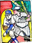Dodgers Drawings Posters - Dodgers Yankees Poster by James  Christiansen