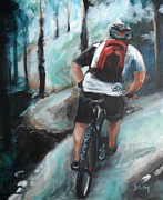 Mountain Biking Paintings - Dodging Trees by Donna Tuten