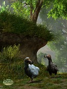 Dodo Bird Posters - Dodos in the Forest Poster by Daniel Eskridge