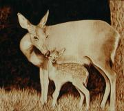 Mother Pyrography - Doe and Fawn by Cate McCauley