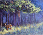 White Tail Paintings - Doe at Dawn by Deb LaFogg-Docherty