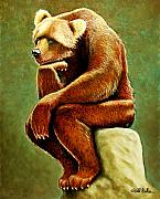 Grizzly Bear Paintings - Does a bear sit in the woods... by Will Bullas