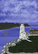 Boston Digital Art Metal Prints - Dofflemeyer Point Lighthouse at Boston Harbor Metal Print by Anne Norskog