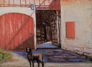 Hounddog Prints - Dog and Barn Print by Joyce A Guariglia