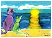 Dog Beach Card Framed Prints - Dog and Cat Sunset Framed Print by Paintings by Gretzky
