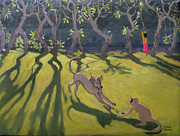 Playing Painting Prints - Dog and Monkey Print by Andrew Macara