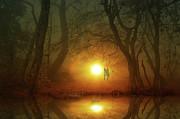 Dog At Sunset Print by Bruno Santoro
