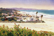 Beach Scene Paintings - Dog Beach Del Mar by Mary Helmreich