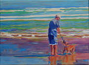 Dad And Dog At Beach Posters - Dog Beach Play Poster by Thomas Bertram POOLE