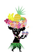 Cute Dog Digital Art - Dog Dancing And Wearing Tropical Costume by Meg Takamura