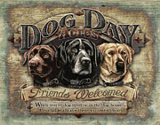 Yellow Dogs Framed Prints - Dog Day Acres Sign Framed Print by JQ Licensing