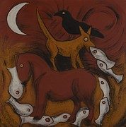 Red Horse Paintings - Dog Dream by Sophy White