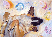 Sleeping Dog Mixed Media Posters - Dog Dreams Poster by Pat Saunders-White