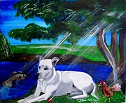 Dog In Lake Prints - Dog in Heaven Print by Jayne Kerr