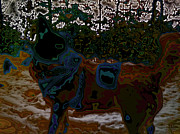 Hundertwasser Prints - dog in snow - not by Hundertwasser II Print by Nafets Nuarb