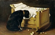 Grief Prints - Dog Mourning Its Little Master Print by A Archer