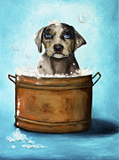 Soap Bubbles Framed Prints - Dog N Suds Framed Print by Leah Saulnier The Painting Maniac