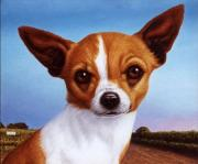 Texas Paintings - Dog-Nature 3 by James W Johnson