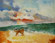 Dog On The Beach Print by Susan Hanlon