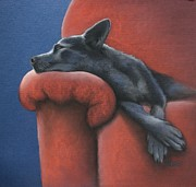 Sleeping Pastels Prints - Dog Tired Print by Cynthia House