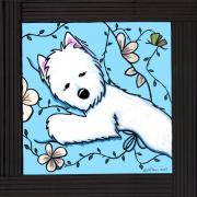 Westie Dog Paintings - Dog Tired Westie III by Kim Niles