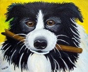 Dog With Stick Paintings - Dog by Una  Miller