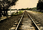 Dog Walking Prints - Dog Walk along the Wayzata Train Tracks Print by Susan Stone