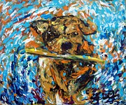 Vet Originals - Dog with a stick by Lidija Ivanek