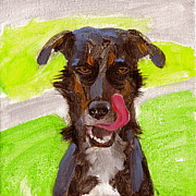 Tongue Painting Originals - Dog with Tongue by Kazumi Whitemoon