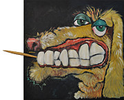 Tim Nyberg Mixed Media - Dog With Toothpick by Tim Nyberg