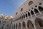 Venetian Balcony Posters - Doges Palace Off Piazza San Marco Or Poster by Trish Punch