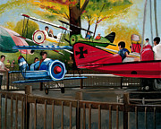 Amusement Park Ride Painting Originals - Dogfight by John OBrien