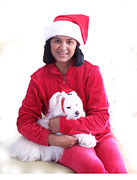 White Maltese Prints - Doggie Christmas Print by Vijay Sharon Govender