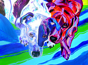 Dawgart Paintings - Dogs - Tango and Marley by Alicia VanNoy Call