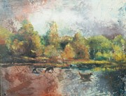 Painterly Pastels Posters - Dogs By The Lakeshore Poster by Lori Goldberg