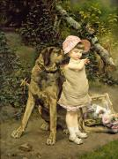 Dog Walking Painting Posters - Dogs Company Poster by Edgard Farasyn